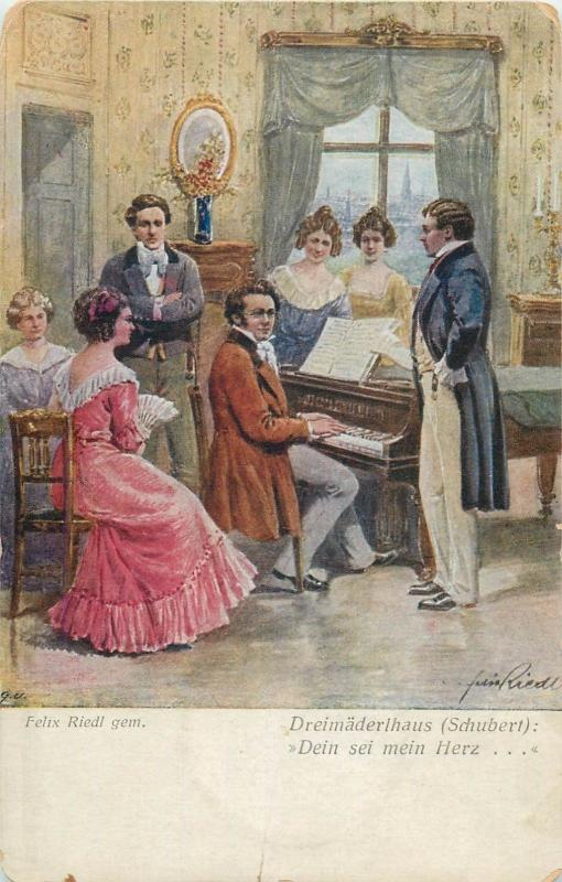 Felix Riedl - composer Schubert house scene piano music vintage postcard