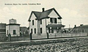 Postcard Columbus Montana Residence Mayor Pat. Lavelle street scene