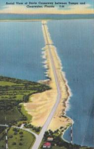 Florida Clearwater Aerial View Of Davis Causeway 1955