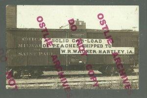 Hartley IOWA RPPC c1910 ADVERTISING Railroad CM&StP RR LOAD OF PEACHES Store