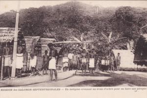 Solomon Islands , 00-10s ; Un digene creusant un tronc d'arbre pour en faire ...