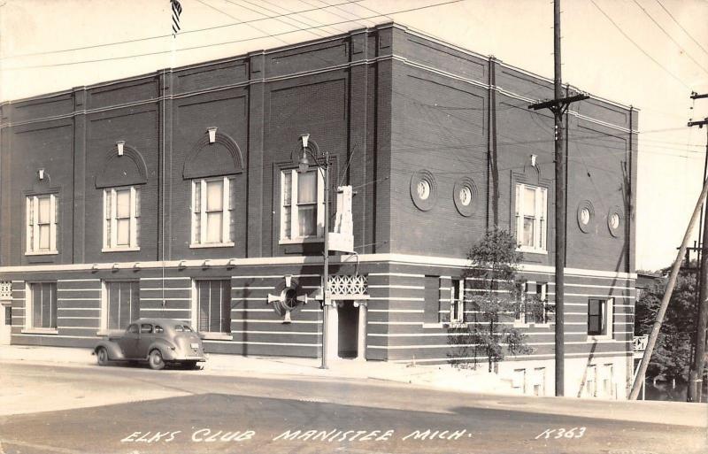 Manistee Michigan~1940s Car @ Art Deco Elk's Club~Round Windows~RPPC