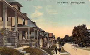 Cambridge Ohio~Men Walk Past Tenth Street Homes~Lady on Front Porch~1913 PC