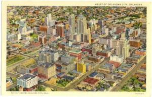 Air View of Downtown Oklahoma City, OK, 1942 Linen