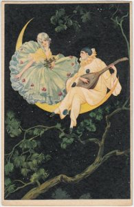 Art Deco ; Pierrot Clown & Woman sitting on the Moon , 1925