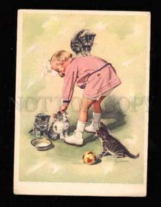 011253 Smiling Girl playing w/ Fluffy KITTENS vintage PC