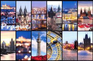 Postcard, Multi View Prague, Czech Republic Landmarks, City, View, Travel 81L