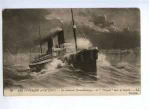 190908 FRANCE courrier ship TIMGAD Vintage postcard