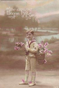RP: BIRTHDAY, 1900-10s; Bonne Fete, Little Sailor Boy carrying basket of Roses