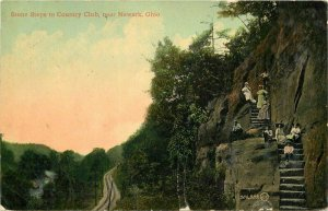 Country Club Stone Steps Newark Ohio 1912 Postcard Leighton Valentine 12606