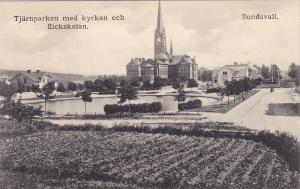 SUNDSVALL, Sweden , 00-10s; Tjarnparken med kyrkan och flickskolan