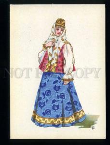 209357 RUSSIA Sorokin folk costume girl Tver province postcard
