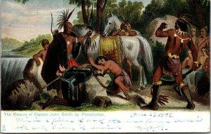 Rescue of Captain John Smith by Pocahontas - TUCK -  Historic Jamestown Postcard