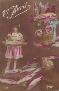 1er Avril April Fool's Day Young Girl Holding Basket With Fish 1917