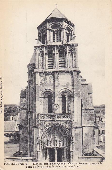 VIENNE, Isere, France, 1900-1910's; Poitiers, L'Eglise Sainte-Radegonde, Cloc...