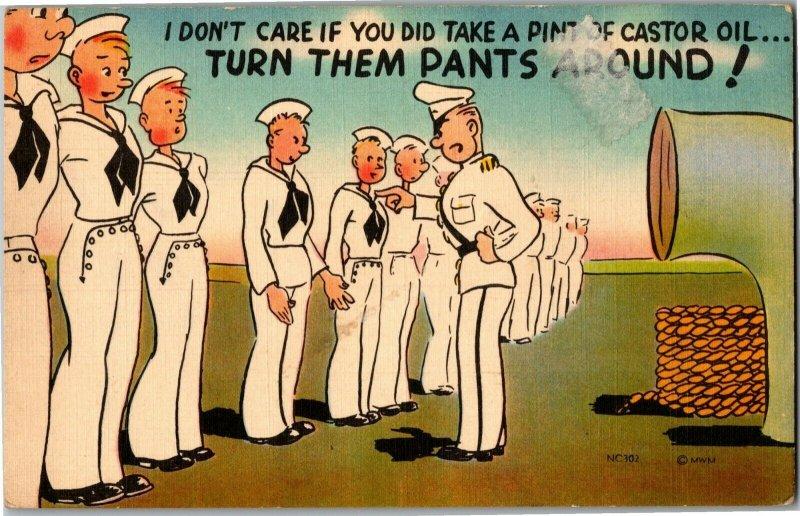 Navy Sailor Pants on Backward Castor Oil Vintage Postcard A08