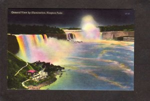 NY Niagara Falls Bridge New York ON Ontario Canada Linen Postcard Illumination