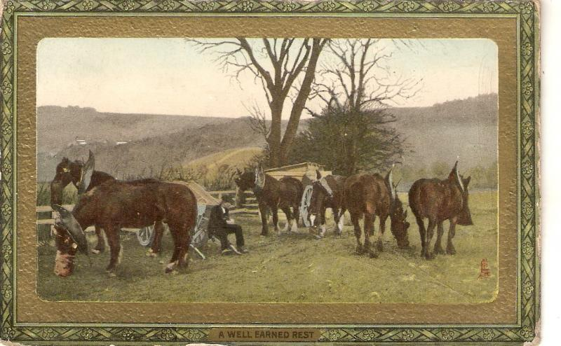 Horses. A weell earned drink  Tuck Framed Gem Glosse Farm Life Series PC # 721
