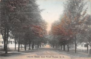 Exeter NH~Lincoln Street Homes~Long Tree-Lined Dirt Road~1908 Postcard