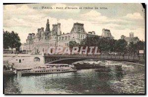 Old Postcard Paris Bridge of Arcola and the hotel de Ville
