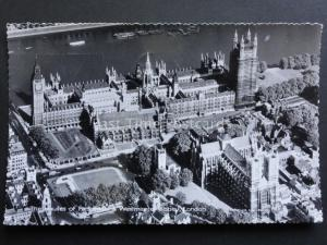 London: AERIAL VIEW Houses of Parliament & Westmister Abbey c1960 RP