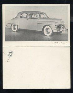 1950 PLYMOUTH FOUR DOOR VINTAGE CAR DEALER ADVERTISING POSTCARD '50 MOPAR