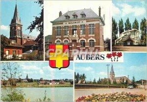 Postcard Modern Aubers Village Fleuri