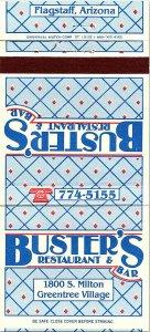 BUSTER'S Restaurant & Bar Greentree Village Flagstaff AZ Vintage Matchbook Cover