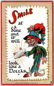 1910s Artist-Signed DWIG Postcard SMILE at a Dime & it Will Look Like a Dollar