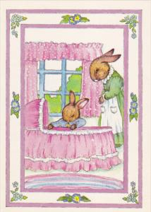 AS: New Arrival by Susan Whited LaBelle, Rabbits looking in baby moses crib, ...