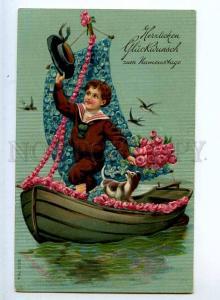 240554 GREETING Boy FLOWERS Boat TERRIER Vintage EMBOSSED PC