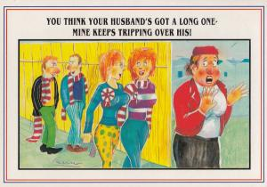 Women Football Fans Queue Husband Has Big **** Comic Postcard