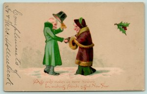 New Year~Age Makes Us More Sincere~Older Couple Greet~1883 Louis Prang & Co