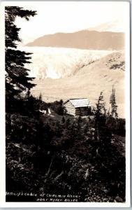 1930s Hyder, Alaska RPPC Photo Postcard Metcalf's Cabin at Chickamin Glacier