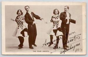 Koøbenhavn Copenhaven Denmark~Signed Four Ascots Acrobatic Dancers~RPPC 1914