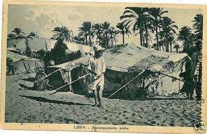 02312  CARTOLINA d'Epoca:  LIBIA : ACCAMPAMENTO ARABO