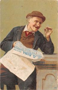Italy, Old Man Il Roma Newspapper
