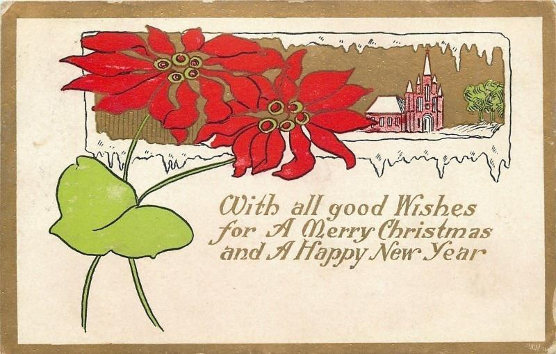 Christmas~Poinsettias Over Church in Icy Window~Art Nouveau~Embossed~1909
