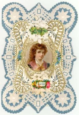 Vintage Embossed Paper Lace Valentine, CAMEO OF WOMAN