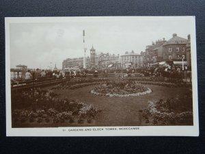Lancashire MORECAMBE Gardens & Clock Tower THE STAR RESTUARANT c1925 RP Postcard