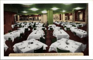 Postcard NY New York NYC McGinnis of Shepherd Bay Crystal Dining Room Unposted