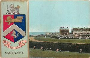 Margate England~Coat of Arms~The Oval~Cliftonville~Lawn Chairs~1905 Postcard