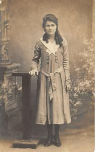 1920s RPPC Real Photo Postcard Pretty Girl in Dress With Long Curls