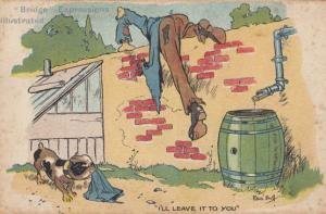 Dog Stopping Drunk Man Getting Beer Barrell Antique Comic Humour Postcard