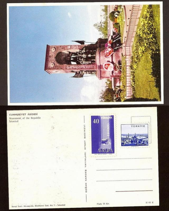 TURKEY VINTAGE POSTCARD/STAMP ISTANBUL-REPUBLIC MONUMENT
