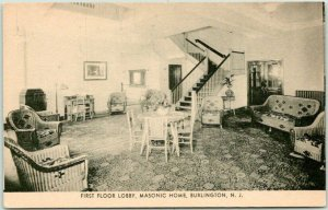 c1940s BURLINGTON, New Jersey Postcard First Floor, MASONIC HOME Lounge View