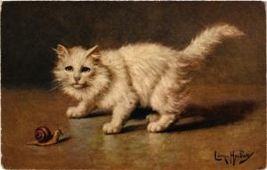 CPA AK CATS White cat and a snail (a2120)