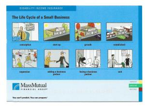 Insurance Ad Postcard Mass Mutual Life cycle Small Business
