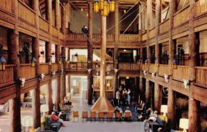 MT, Montana     MANY GLACIER HOTEL-Crowded Lobby Interior      Roadside Postcard