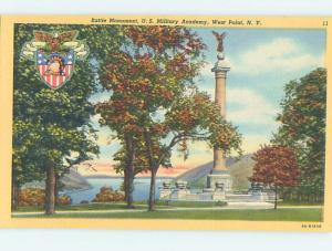 Linen BATTLE MONUMENT AT MILITARY ACADEMY SCHOOL West Point New York NY J8302